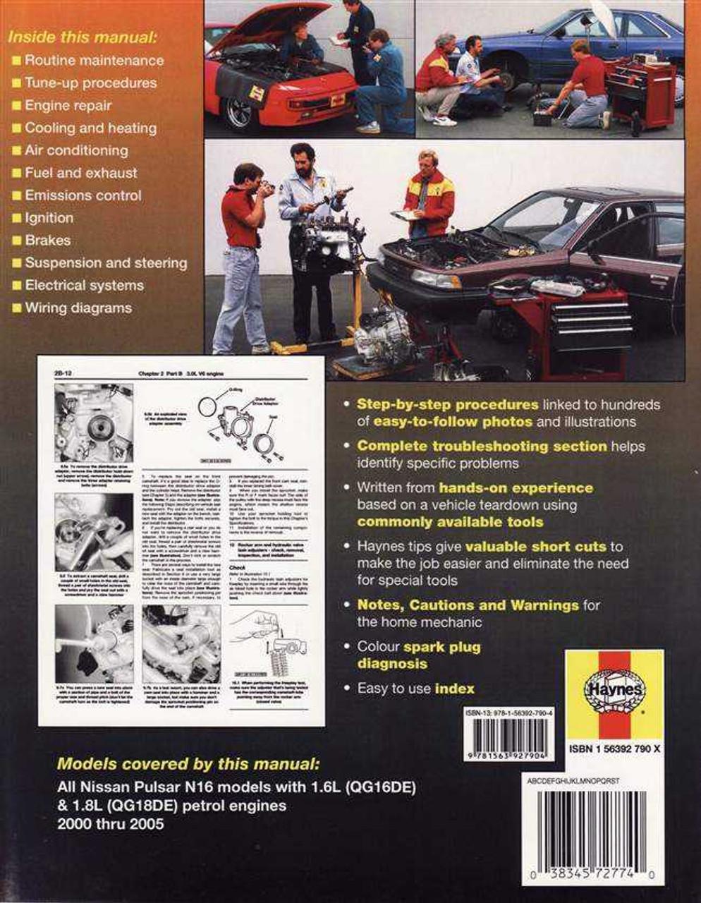 Nissan Pulsar N16 Series 16L 18L Petrol 2000 2005 Workshop Manual