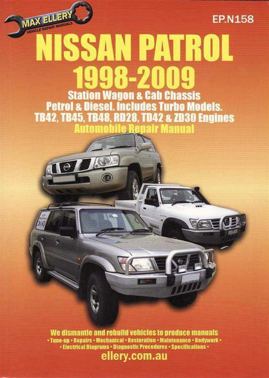 nissan patrol petrol diesel incl turbo models 1998 2009 rh automotobookshop com au nissan patrol rd28 service manual nissan patrol rd28 workshop manual