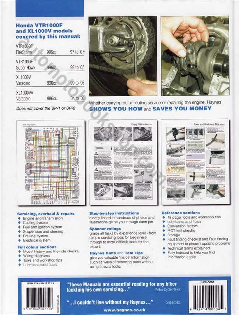 honda vtr1000f amp xl1000v 1997 2008 workshop manual rh automotobookshop com au honda varadero 125 wiring diagram