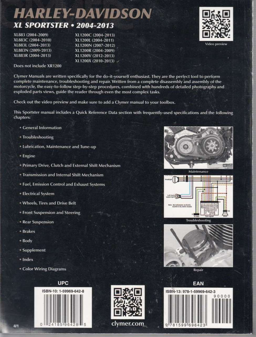Harley Davidson Xl Sportster 2004 2013 Workshop Manual 2014 Xl1200v Wiring Diagram Back Cover
