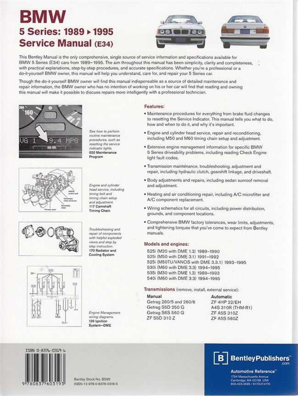 bmw 5 series e34 525i 530i 535i 540i 1989 1995 workshop manual rh automotobookshop com au Haynes Manuals UK Haynes Manual Pictures Back
