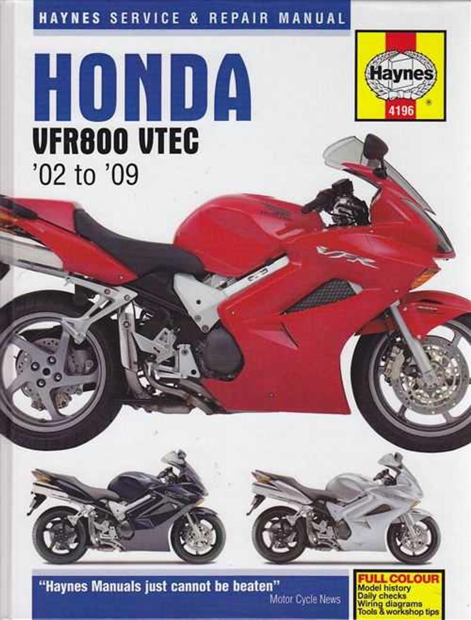 honda vfr800 vrf800a vtec and interceptor 2002 2009 workshop manual rh automotobookshop com au 1986 Honda VF500 Interceptor 1990 Honda Interceptor