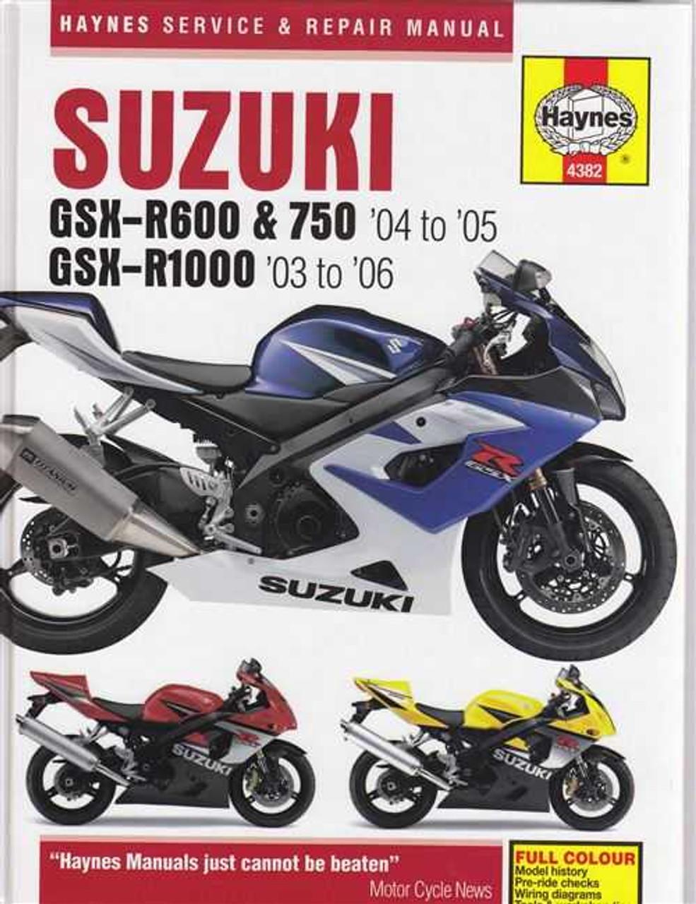 Suzuki GSX-R600, GSX-R750, GSX-R1000 2003 - 2006 Workshop Manual