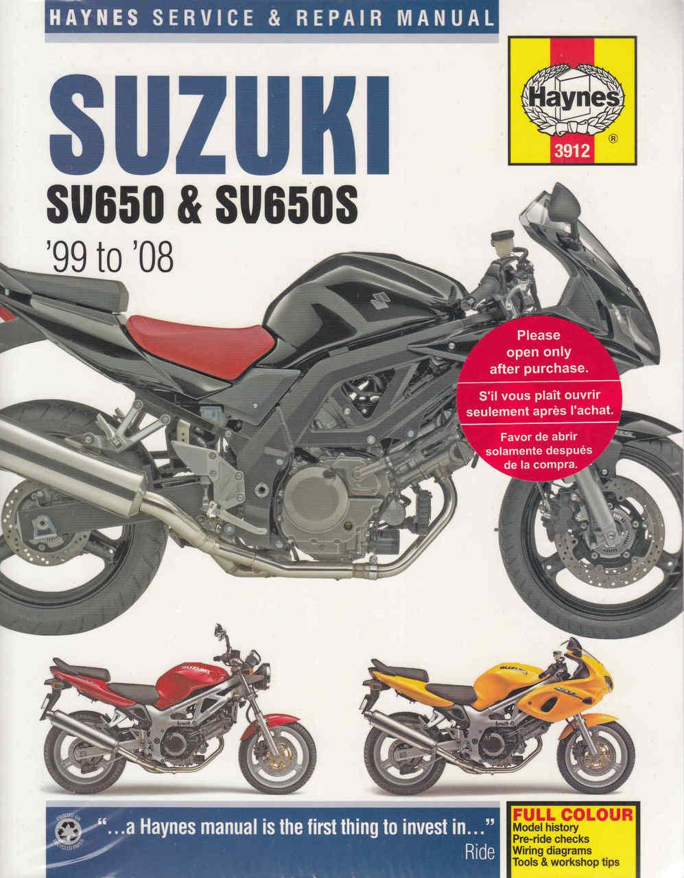 suzuki sv650 sv650s 1999 2008 workshop manual rh automotobookshop com au 2003 suzuki sv650s service manual pdf 2009 Suzuki SV650