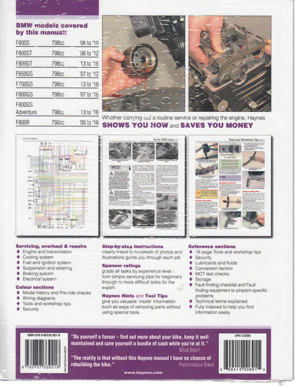 Bmw F800 F650 F700 Twins 2006 2016 Workshop Manual 9780857339218 Wire Diagram 2016workshop Back