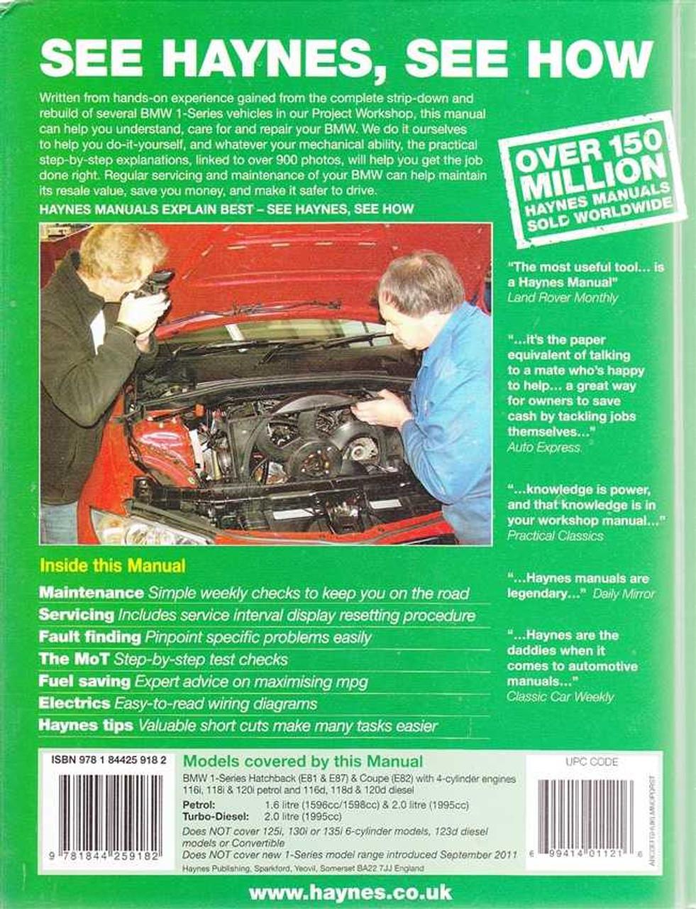 bmw 1 series e81 e87 e82 petrol diesel 2004 2011 workshop manual rh automotobookshop com au 2004 BMW 7 Series Problems 2004 BMW M3 Colors