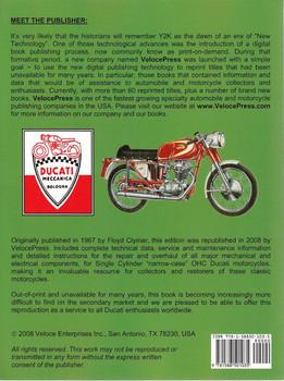 "Ducati 160cc, 250cc, 350cc OHC Single Cylinder ""Narrow Case"" Workshop Manual Back"