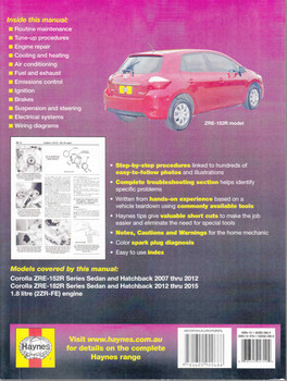 Toyota Corolla 1.8 litre engine ZRE-152R & ZRE-182R 2007 - 2015 Workshop Manual Back