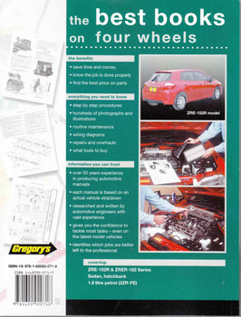 Toyota Corolla 1.8 Litre ZRE-153R & ZRE-182R 2007-2015 Repair Manual - back
