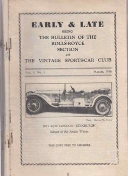 Early & Late Being The Bulletin Of The Rolls-Royce Section Of The Vintage Sports-Car Club