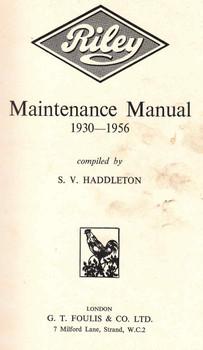 Riley Maintenence Manual 1930 - 1956 (B001102JPW)