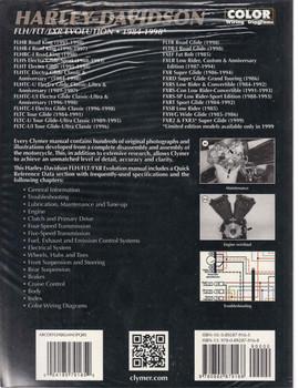 Harley-Davidson FLH FLT FXR Evolution 1984 - 1998 Workshop Manual Back