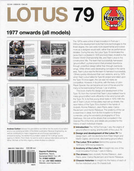 Lotus 79 1977 onwards (all models) Owners' Workshop Manual (9781785210792) - back