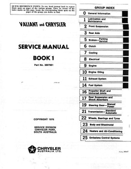 Chrysler | Valiant K Series 1975 Workshop Manual (Book 1)