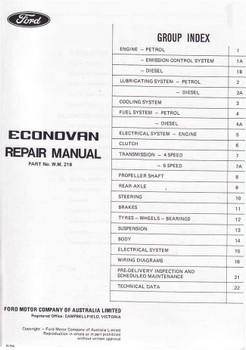 Ford Econovan 1979 - 1983 Workshop Manual