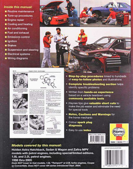 Holden Astra & Zafira TS, TT Series 1998 - 2005 Workshop Manual