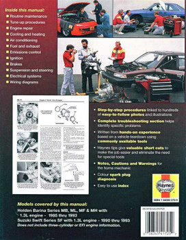 Holden Barina & Suzuki Swift 1985 - 1993 Workshop Manual