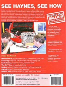 Honda Jazz 2002 - 2008 Workshop Manual