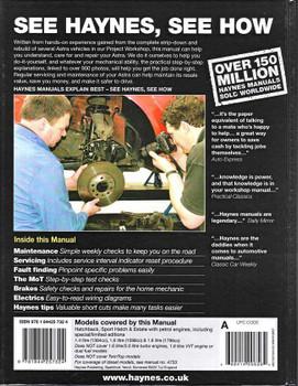 Holden Astra 2004 - 2008 Petrol Workshop Manual