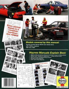 Toyota Corolla KE70 Series (RWD) 1981 - 1984 Workshop Manual