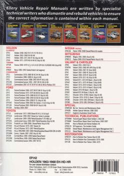 Holden EH, HD, HR Series 1963 - 1968 Workshop Manual - back