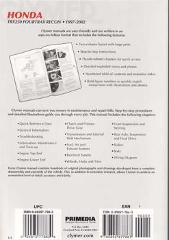 Honda TRX250 Fourtrax Recon ATVs 1997 - 2002 Workshop Manual