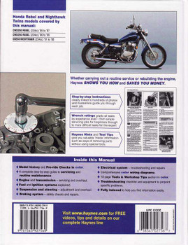 Honda CMX250 Rebel, CB250 Nighthawk Twins 1985 - 2009 Workshop Manual