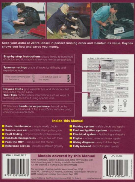 Holden (Vauxhall/Opel) Astra & Zafira 1998 - 2000 Diesel Repair Manual, back cover