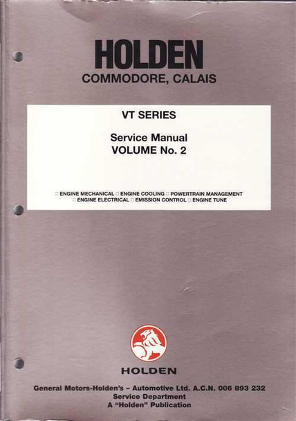 Holden Commodore, Calais VT Series Workshop Manual (vol 2)