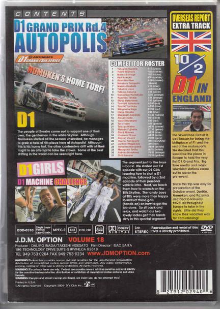 J.D.M. Option International Volume 18: 2005 D1 Autopolis DVD Back
