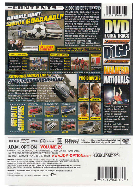 J.D.M. Option International Volume 26: World Cup Car Soccer DVD Back