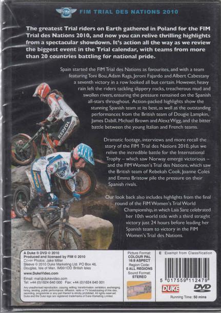 FIM Trial Des Nations 2010 DVD Back