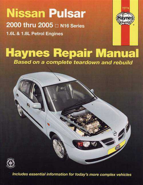 Nissan Pulsar N16 Series 1.6L, 1.8L Petrol 2000 - 2005 Workshop Manual