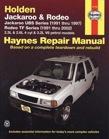 holden jackaroo amp rodeo 1991 2002 workshop manual rh automotobookshop com au 1990 Holden Rodeo 1990 Holden Rodeo