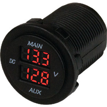 Sea-Dog Line Dual Round Voltmeter 421616-1