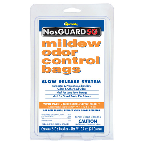 Starbrite Mildew Mold Odor Control Bags 2 pack 10g Marine RV Home STA 89950