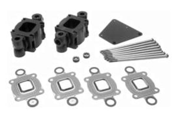 """OEM Mercruiser V6 V8 """"Dry Joint"""" Exhaust Riser 3 inch Spacer kit (14 degree risers) (std cooling)"""