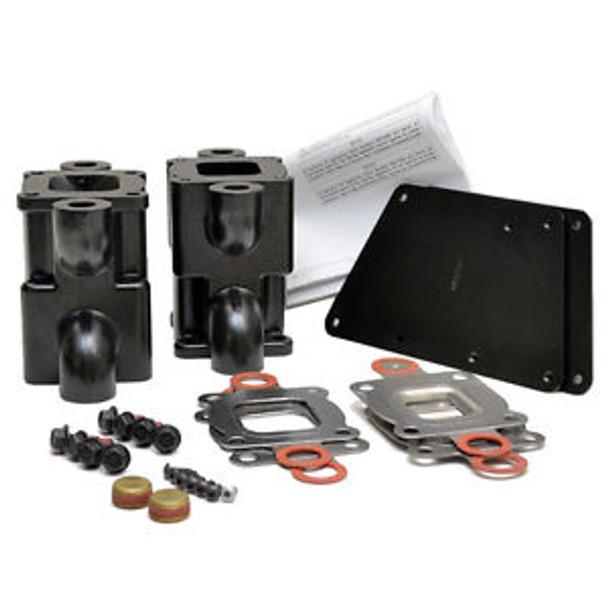 """OEM (14 degree risers) Mercruiser V6 V8 """"Dry Joint"""" Exhaust Riser 6 inch Spacer kit (std cooling)"""