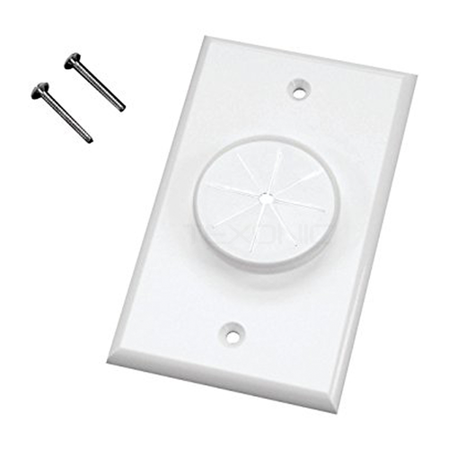 Cable  Pass-through  Wall Plate With Grommet 1 Gang (C-1GWHGR1)