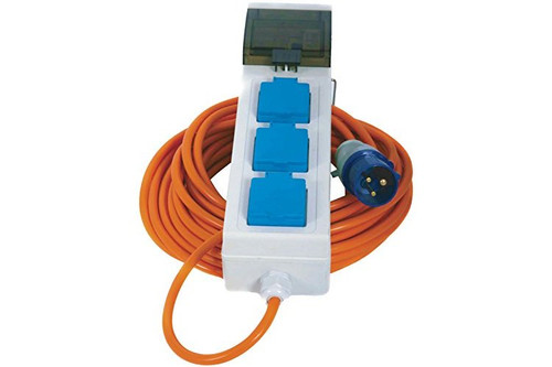 Site Power Mobile Mains Hook Up 3 Sockets 20m Cable RCD Protection