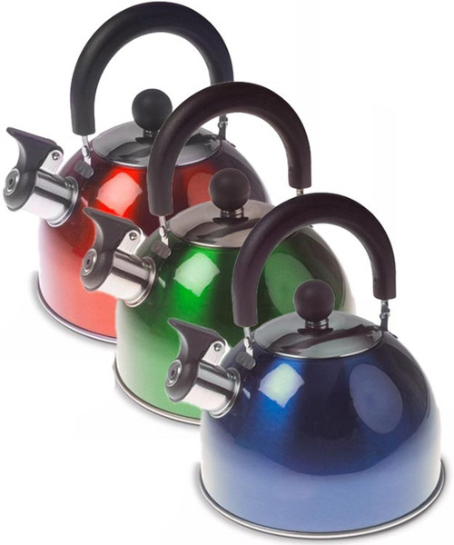 Kampa Brew 2L Stainless Steel Whistling Kettle - Red, Green or Blue