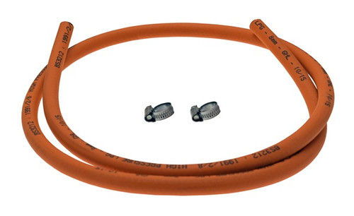 Propane Gas Hose with Clips - Orange - 1.5m