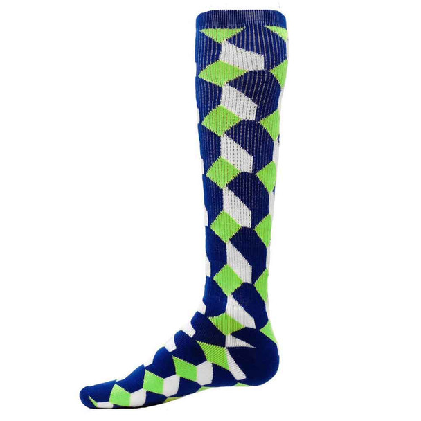 Cube Pattern Socks / Royal & Flo Green