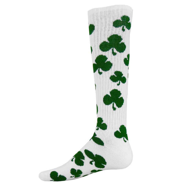 White Shamrock Soccer Socks