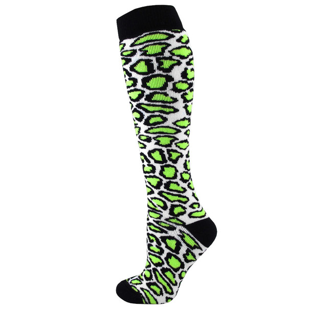 Leopard Soccer Socks / Fluorescent Green