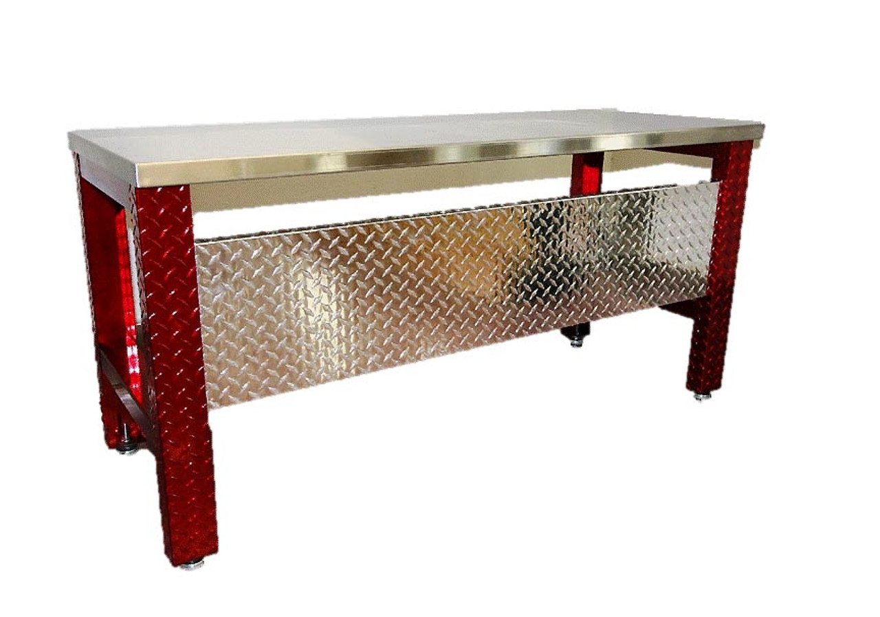 Diamond Plate Desk Red Legs Stainless Steel Top