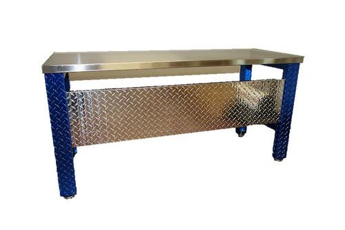 Diamond Plate Desk Blue Legs Stainless Steel Top