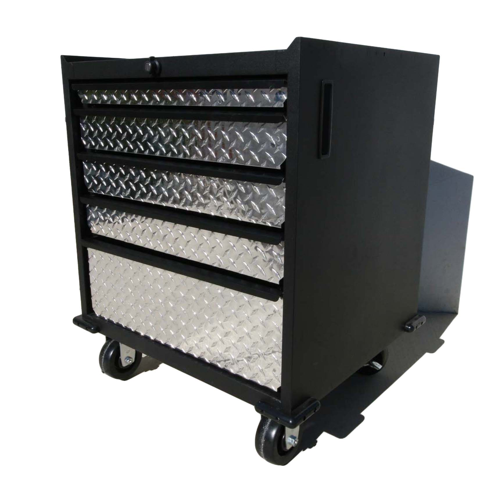 Base Cabinet with Diamond Plate Drawers, casters and lock