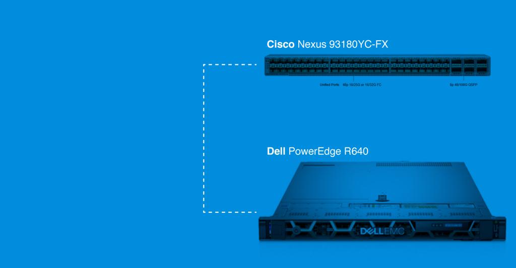 Cisco Nexus 93180YC-FX to Dell R640 using FluxLight.com SFP-10G-SR optical transceiver and fiber jumper cables.