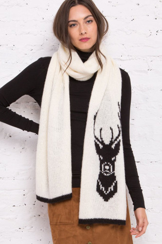 Wooden Ships - Buck XL Scarf - Pure Snow/ Black